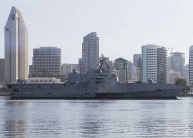 The Navy's newest littoral combat ship, USS Kansas City (LCS 22), at its new homeport at Naval Base San Diego. (U.S. Navy photo by Woody Paschall)