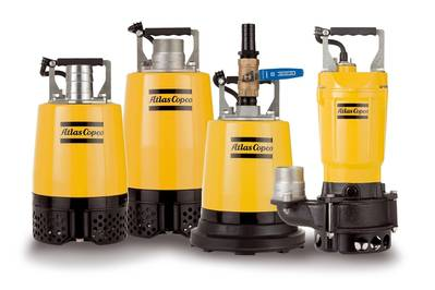 The new Atlas Copco WEDA small range pumps include: (left to right) WEDA04 and WEDA08 drainage pumps, WEDA04B residual pump and WEDA08S sludge pump