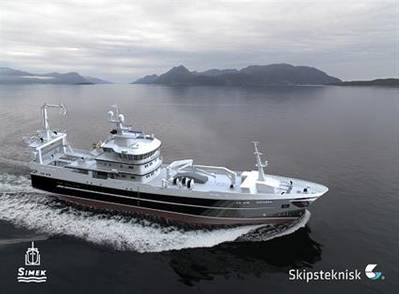 The new fishing vessel will feature an integrated Wärtsilä propulsion solution including main engine, controllable pitch propeller and gearbox. (Image: Simek, Skipsteknisk)
