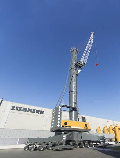 The new Liebherr mobile harbor crane LHM 600 high rise, is ready for transhipment Rostock, Germany to Kingston, Jamaica. (Photo: Liebherr)