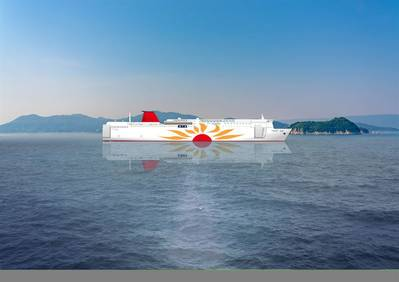 The new MOL ferries will operate with the Wärtsilä 31DF engine running on LNG fuel. Wärtsilä will also supply the gearbox and the LNGPac, fuel storage, supply and control system. Copyright: Mitsui O.S.K. Lines