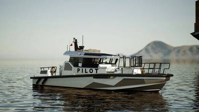 The new pilot boat for the Pascagoula Bar Pilots Association will be their second Metal Shark pilot boat and the first in a series of this new 55' Defiant platform. (Image: Metal Shark)
