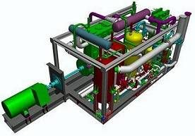 The new reliquefaction plant design from Babcock's LGE Process showing the vent gas cooler (in yellow) in the middle of the skid-mounted unit.
