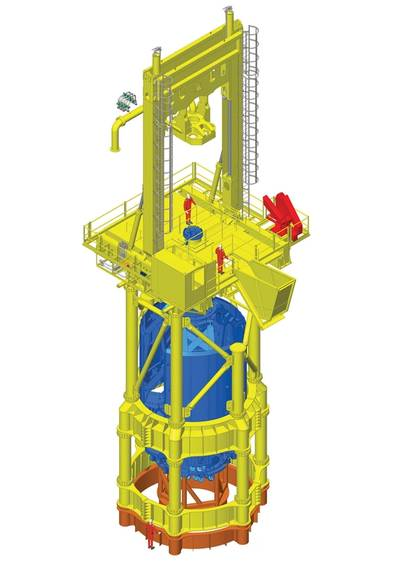 The new T120 drill on top of the Conductor (framework that lifts it above the waves) all in yellow, and also showing the down hole equipment in blue. It will be configured as shown here and attached to the orange steel frame which is fixed to the deck of the transport installation vessel (TIV).