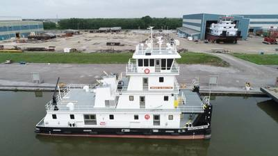 The new towboat Brooks M. Hamilton is the second in a series of 15 being built by C&C Marine and Repair for Maritime Partners (Photo: C&C Marine and Repair)