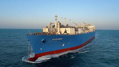 The newly upgraded FSRU Explorer arriving at Jebel Ali LNG terminal. (Photo: Excelerate Energy L.P.)