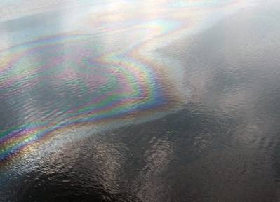 The oil sheen: Photo courtesy of NOAA