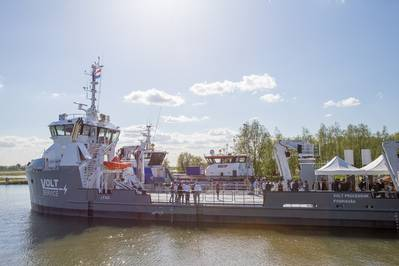 The open day at UV 4312 Fish Farm Support Vessel  (Photo: Damen Shipyards)