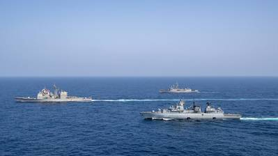 The Pakistan Navy frigate PNS Alamgir (F 260), German Navy frigate FGS Bayern (F 217), and guided-missile cruiser USS Shiloh (CG 67) sail in formation during a passing exercise (PASSEX) in the Arabian Sea, Sept. 6, 2021. (Photo: Rawad Madanat / U.S. Navy)