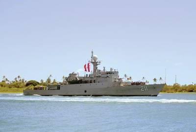 The Peruvian navy maritime patrol boat BAP Ferre (PM 211) arrives at Joint Base Pearl Harbor-Hickam in preparation for Rim of the Pacific (RIMPAC) exercise. (U.S. Navy photo by Mass Communication Specialist 1st Class Holly L. Herline)