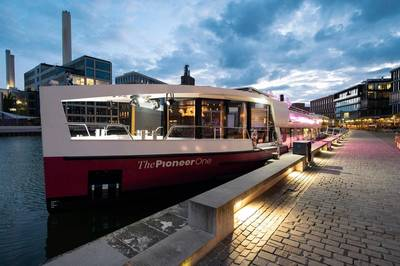 """""""The Pioneer One"""" is Germany's first """"editorial ship."""" Photo: Schottel"""