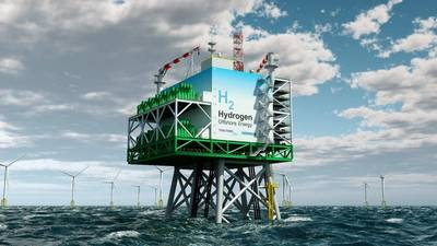 """The platform model from Tractebel contains a complete plant for the industrial production of CO2-neutral """"green"""" hydrogen from offshore wind energy. Image: Tractebel"""