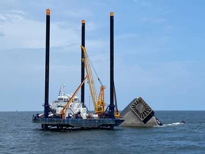 The Seacor Eagle is on scene for salvage and pollution response operations following the fatal capsizing of the Seacor Power off Port Fourchon, La. (Photo: Brendan Freeman / U.S. Coast Guard)