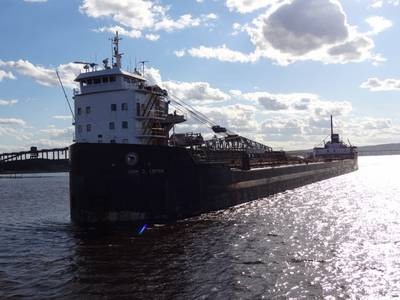 The self-discharging bulk carrier vessel John D. Leitch makes its way through the Duluth-Superior Harbor in 2012. (Photo: Marie Zhuikov / Wisconsin Sea Grant)