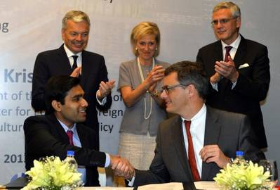 The signing ceremony in Mumbai