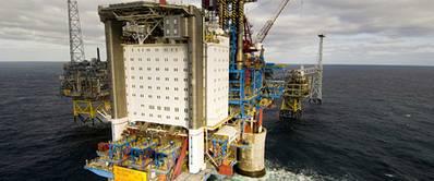 The Sleipner A platform in the North Sea (Photo: Øyvind Hagen)