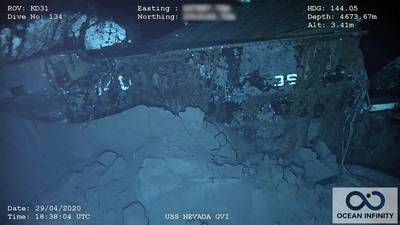 """The stern of the wreck has the remains of """"36"""" and """"140.""""  Nevada's designation was BB-36 and the 140 was painted on the structural """"rib"""" at the ship's stern for the atomic tests to facilitate post-blast damage reporting. (Photo: Ocean Infinity/SEARCH, Inc.)"""