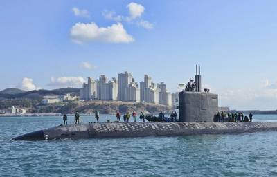 The submarine USS Columbus (SSN 762), seen here in the Republic of Korea in 2014, will undergo maintenance and modernization at HII's Newport News Shipbuilding division. Work is expected to be completed in May 2019. (U.S. Navy photo)