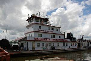The Thomas E. Erickson, owned and operated by Marquette Transportation, chartered by AEP River Operations. Photo by Raina Clark