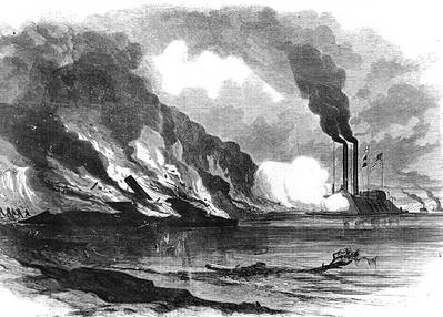 """The Union Gun-boat Essex (Commander Porter) Destroying the Rebel Iron-clad Ram Arkansas, in the Mississippi"" Line engraving published in ""Harper's Weekly,"" 1862. CSS Arkansas was run ashore and burned to prevent capture when her engines failed during this encounter with USS Essex, on August 6, 1862. (U.S. Naval Historical Center Photograph)"