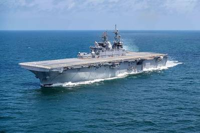 The U.S. Navy amphibious assault ship USS Tripoli (LHA-7) conducts builder's trials in the Gulf of Mexico in July 2019. (U.S. Navy photo courtesy of Huntington Ingalls Industries by Derek Fountain)
