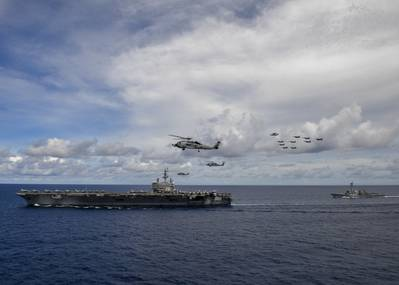 The USS Nimitz (CVN 68) and USS Ronald Reagan (CVN 76) Carrier Strike Groups conduct dual carrier operations in the Indo-Pacific as the Nimitz CSF. (U.S. Navy photo by Olivia Banmally Nichols)