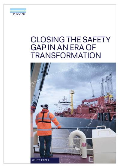 """The white paper identifies a looming """"safety gap"""" between shipping's existing approach to safety risks and its ambitions for greater digitalization and the adoption of alternative fuels. (Image: DNV GL)"""