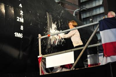 Theresa Gilliam Pitts Christens 'USNS Choctaw County': Photo credit Austal
