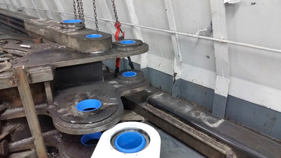 Thordon's ThorPlas-Blue tiller arm and linkage bearings were machined and installed by Mactech on a towing vessel for a project that they partnered on in 2018 (Photo: Thordon Bearings)