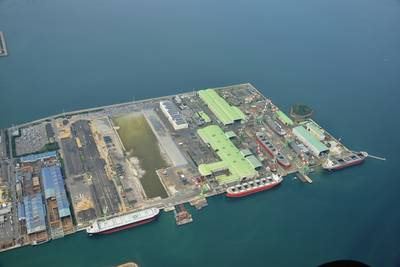 Today, the Imabari Shipbuilding group operates nine factories and 12 building facilities that produce a total of over 90 vessels per year.  The newbuilding  drydock will measure  600 x 80m (1968.5 x 262.467 ft.) and cost about $333m.