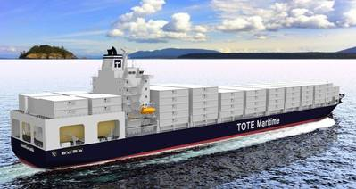 TOTE Container Ship: Image credit MAN/TOTE