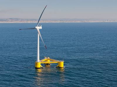 Illlustration - A semi-submersible type floating offshore wind turbine foundation called the WindFloat. Credit: Untrakdrover/Wikimedia Commons - CC BY-SA 3.0