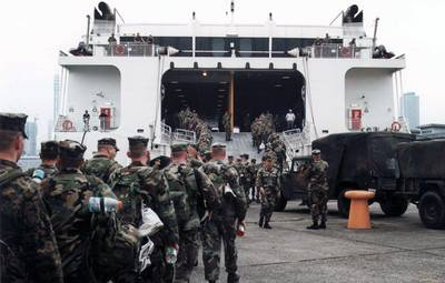 Troops boarding WestPac Express: Photo courtesy of Austal