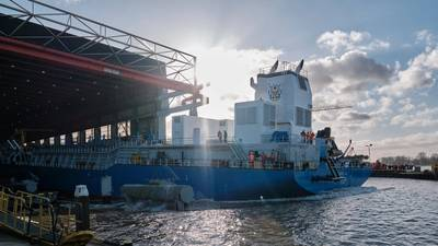 TSHD Ghasha is launched at IHC's shipyard in Kinderdijk, The Netherlands (Photo: Royal IHC)