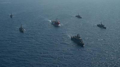 Turkish Navy vessels escorting the Oruc Reis seismic vessel - Credit: Turkish Defense Ministry