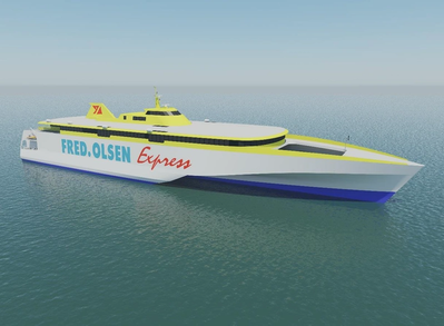 Two 117m high-speed vehicle passenger ferries to be built by Austal for Fred Olsen S.A. of Spain (Image: Austal)