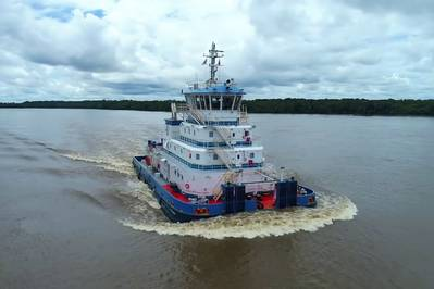 Two new Robert Allan Ltd custom-designed pusher tugs are now being operated along the Amazon River system by Hidrovias do Brasil S.A. (Photo: Robert Allan Ltd)