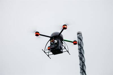 Multicopter with sensors (photograph taken by Aeromon Ltd.)