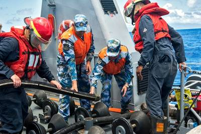 US & China Sailors Exercise: Photo credit USN