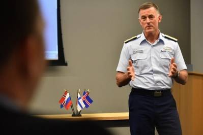 U.S. Coast Guard Commandant Adm. Paul Zukunft speaks during the Arctic Coast Guard Forum (USCG photo by Patrick Kelley)