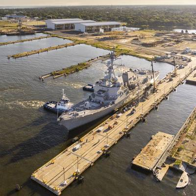 U.S. Navy destroyer Delbert D. Black (DDG 119) was moved to Pier Four on the east bank of the Pascagoula River, signifying the reopening of Ingalls' facility that had been decimated in 2005 by Hurricane Katrina. (Photo by Derek Fountain/HII)