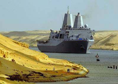 US Warship in Suez Canal: Photo credit USN
