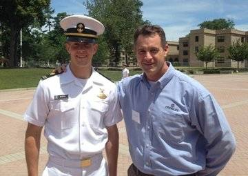USMMA Midshipman Kevin Berto and Bren Wade, Crowley's manager for marine compliance