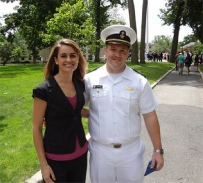 USMMA Midshipmen James Cameron and Crowley's Amelia Smith: Photo credit Crowley Maritime