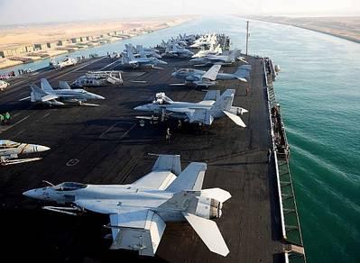 USS Abraham Lincoln - Suez Transit: Credit USN