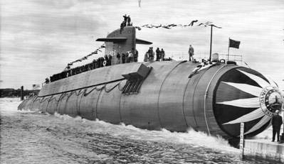 USS Daniel Webster (SSBN 626) was launched April 27, 1963. (Photo from the files of the Vallejo Naval & Historical Museum courtesy of Darryl L. Baker)