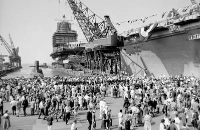 USS Enterprise (CVAN-65) is launched September 24, 1960 at Newport News Shipbuilding. (Photo courtesy of Huntington Ingalls Industries)