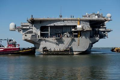 USS Enterprise docking: Photo credit HII
