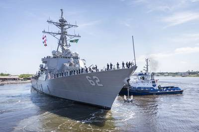 USS Fitzgerald prepares to depart the Ingalls shipyard to return to her homeport in San Diego. (U.S. Navy photo courtesy of Derek Fountain/Huntington Ingalls Industries)