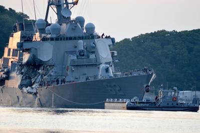 USS Fitzgerald Returns to Yokosuka, Japan after collision with a merchant vessel in June (U.S. Navy photo by Peter Burghart)